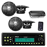 Pyle Marine Stereo Radio Headunit Receiver & Speaker Kit, MP3/USB/SD Readers, CD Player, AM/FM Radio, Single DIN, (4) Waterproof 5.25'' Speakers, Splash Proof Cover (Black)