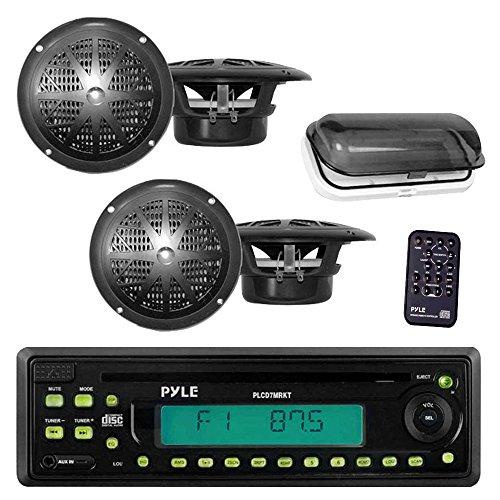 Pyle Marine Stereo Radio Headunit Receiver & Speaker Kit, MP3/USB/SD Readers, CD Player, AM/FM Radio, Single DIN, (4) Waterproof 5.25'' Speakers, Splash Proof Cover (Black) primary