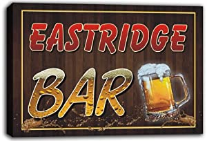 scw3-012948 EASTRIDGE Name Home Bar Pub Beer Stretched Canvas Print Sign