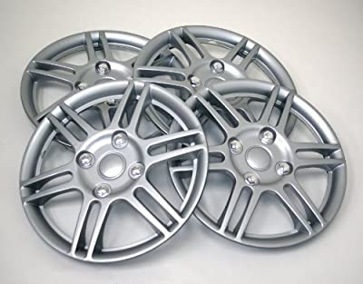 TuningPros WSC-004S14 Hubcaps Wheel Skin Cover 14-Inches Silver Set of 4