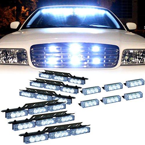 White 54X Led Emergency Vehicle Deck Grill Dash Warning Strobe Light - 1 Set