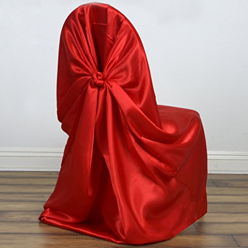 BalsaCircle 10 Universal Satin Pillowcase Wedding CHAIR COVERS - Red