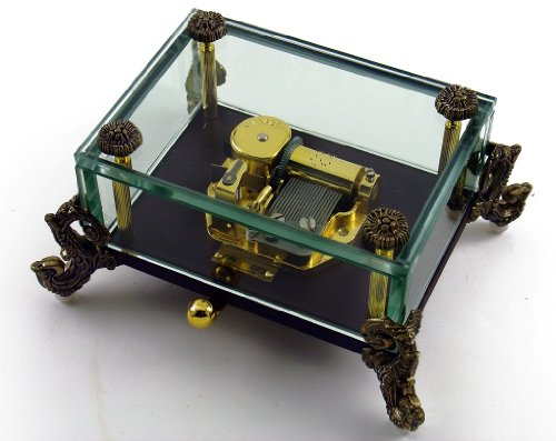 Alluring 18 Note Crystal Music Box with Detailed Dragon Feet (Aquarius (SWISS))
