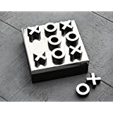 Cyber Monday Tic-Tac-Toe Game with Metal Naughts and Crosses Wooden Box Board Game Storage Box for Adults Kids
