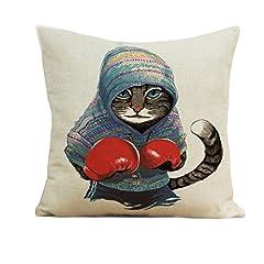 i-BOSOM 猫ファミリー クッションカバー 枕カバー ピローケース インテリア 45×45cm (ボクシング)