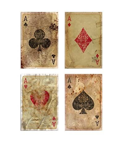 Oliver Gal Vintage Playing Cards Quadriptych Canvas Art