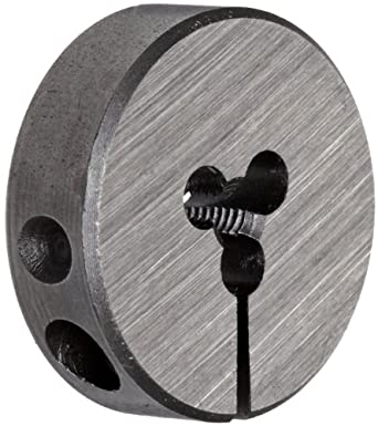 "Union Butterfield 2010(UNF) Carbon Steel Round Threading Die, Uncoated (Bright) Finish, 13/16"" OD, #4-48 Thread Size"