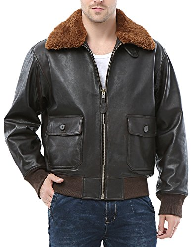Airborne Leathers Men's Top Gun Goat Skin Bomber Jacket G-1 X-Large Navy G 1 Flight Jacket