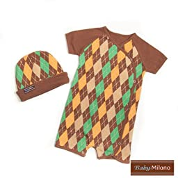 Brown Argyle- Hat & Body Suit