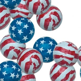 Patriotic Stars & Stripes Milk Chocolate Balls - 1 Lb - 16 Oz