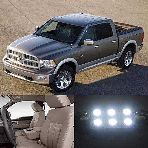 Partsam 2009 2010 2011 2012 Dodge Ram 1500 White Interior Led Light Package Kit 7 Pieces