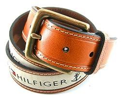 Tommy Hilfiger Men's Ribbon Inlay Belt,Khaki,38