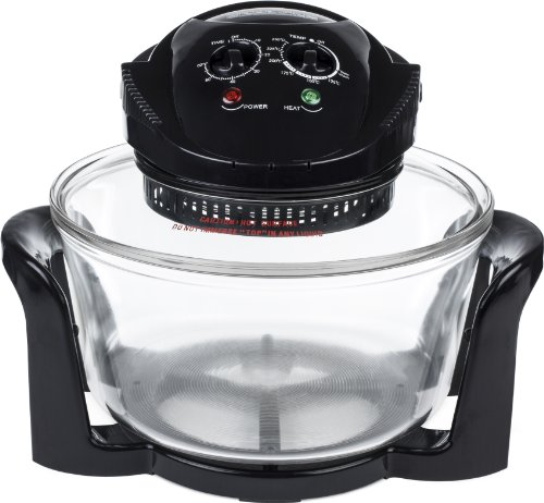 Andrew James 12 LTR Black Premium Halogen Oven Cooker + Easily Replaceable Spare Bulb + 2 YEAR WARRANTY + 128 Page Recipe Book - Complete With Extender Ring (Up to 17 Litres) Lid Holder, Baking Tray, Steamer Tray, Skewers, Low and High Racks