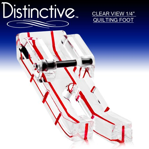 """Distinctive Clear View 1-4"""" Quilting/Sewing Machine Presser Foot - Fits All Low Shank Snap-On Singer*, Brother, Babylock, Euro-Pro, Janome, Kenmore, White, Juki, New Home, Simplicity, Elna And More!"""