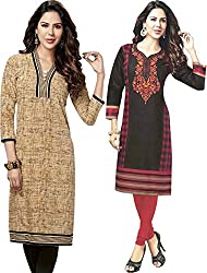 SDM Women's Kurti Printed Cotton Dress Material Unstitched Combo of 2 (123-104 ,Unstitched)