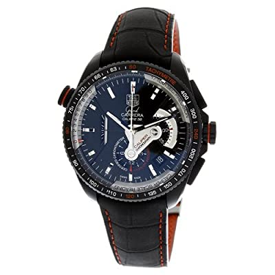 TAG Heuer Men's CAV5185.FC6237 Grand Carrera Leather Strap Chronograph Black Dial Watch by Tag Heuer