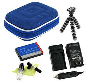 rooCASE 5n1 (Med Nylon Dark Blue) Hard Shell Case with Memory Foam / KLIC-7006 650mAh Li-Ion Battery / AC DC Charger / Premium Tripod / LCD Cleaning Kit for Kodak EasyShare M530 M550 M575 M580