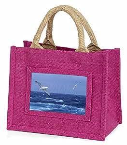 Sea Albatross Flying Free Little Girls Pink Shopping Bag