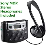 Sony Walkman Digital Tuning Portable Palm Size AM/FM Stereo Radio (Black) with Weather Band, 20 Station Preset Memory, DX Switch for Exceptional Reception, Convenient Belt Clip & Over the Head Stereo Headphones - Designed for Jogging, Walking, Exercising & Bike Riding