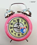 8915 Extremly Silent Quartz Twin Bell Metal Alarm Clock - assorted colours