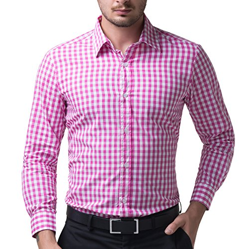 Paul Jones Pink Mens Plaid Cotton Causal Dress Shirts(M)
