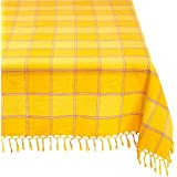 """Mahogany T415T6YL Square """"Cristo"""" Plaid Fringed Tablecloth, 60 by 60-Inch, Yellow"""