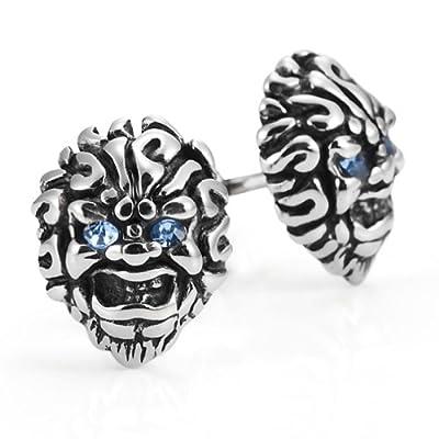 Masculine Men's Stainless Steel Skull Stud Earrings for men Set, Color Silver Black Blue
