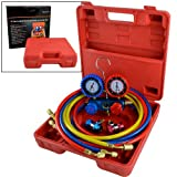 Manifold Gauge Set R134a R12 R22 AC A/C 6FT Colored Hose Air Conditioner Freon Charging Kit