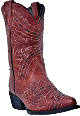 Dan Post Girls' Sidewinder Cowgirl Boot Snip Toe Red 11.5 US