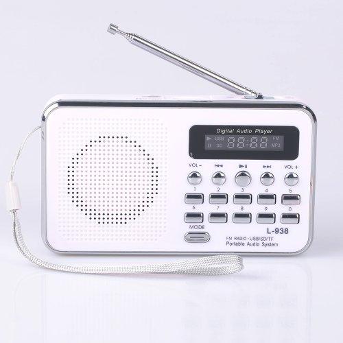 Mfine Portable Mini Usb Fm Radio Speaker Music Player Sd/Tf Card For Pc Ipod Phone (938 White)