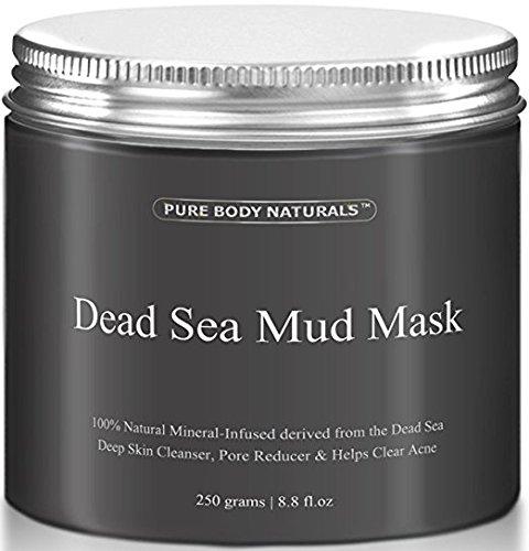 Pure Body Naturals beste Maske mit Schlamm aus dem toten Meer, 250g / 8.8 fl.oz. - Totes Meer Schlammmaske zur Gesichtsbehandlung, minimiert Poren, reduziert Falten und schenkt einen strahlenden Teint
