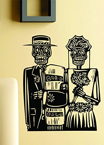 Dabbledown Decals Day of the Dead Wedding Couple Wall Vinyl Decal Sticker Art Graphic Sticker Skulls Wall Vinyl Decal Sticker Art Graphic Sticker Sugar Skull Sugarskull