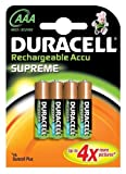 Duracell Rechargeable HR03 1000 mAh AAA Batteries 4 Pack