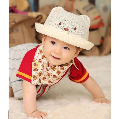 ベビー帽子 麻の帽子 赤ん坊の帽子 子供の帽子 麦わら帽子 (S, ホワイト)