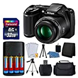 "Nikon COOLPIX L340 20MP Digital Camera (Black) + AA Batteries & Charger + Transcend 32GB SDHC Memory Card + 50"" Quality Tripod - Full Value Bundle - International Version (No Warranty)"