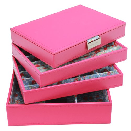 Medium Size Fuchsia HOT Pink Stackers Jewellery Box COMPLETE SET Includes all 4 trays as Shown GREAT VALUE
