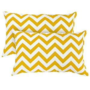 Greendale Home Fashions Rectangle Indoor/Outdoor Accent Pillows, Yellow Zig Zag, Set of 2