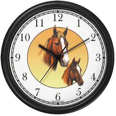 Tennessee Walkers Horses - Mare Foal Wall Clock by WatchBuddy Timepieces Slate Blue Frame