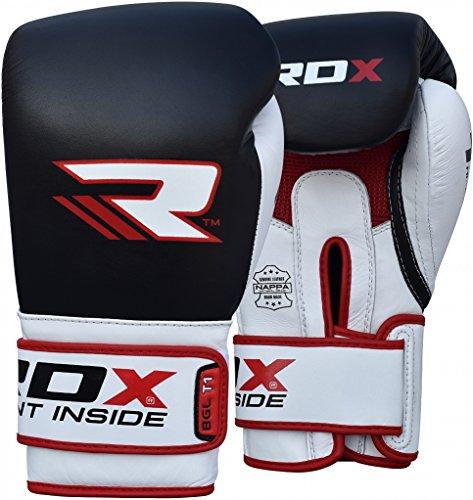 RDX Rindsleder Gel Pro T1 Boxhandschuhe, Schwarz, 12 oz -