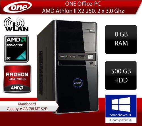 ONE Office-PC AMD Athlon II X2 250, 2x 3.0Ghz (Dualcore) | 8 GB DDR3-RAM | 500 GB HDD SATA | DVD-Brenner | W-LAN | CardReader | 1024 MB AMD Radeon HD 5450, DVI, HDMI, VGA | 5.1 HD Sound | LAN
