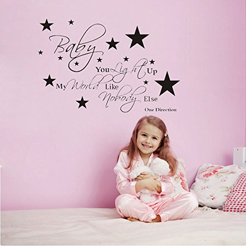 Baby You Light Up My World Like nobody Else One Direction Quote Viny Decal Removable Art Wall Sticker Home Décor (Wall Decals Quotes One Direction compare prices)