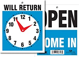 Headline Sign 9381 Double-Sided Open/Will Return Sign with Clock Hands, 5 Inches by 6 Inches