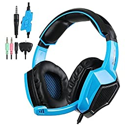 Sades SA920 Wired Stereo Gaming Headset Over Ear Headphones with Microphone for Xbox One / Xbox 360 / PS4 / PC /Cell phones / iPad(Black Blue)