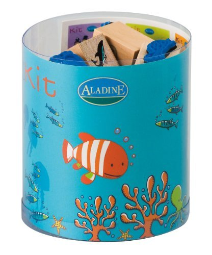 Our Stamps Are Especially Dedicated To The Creativity And Imaginations Of Children 6 And Older - Aladine From the Sea Themed Rubber Stamps, Set of 15 Plus 1 Ink Pad