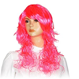 Lady Cosplay Pink Curly Wavy Hair Wig Hairpiece w Bangs