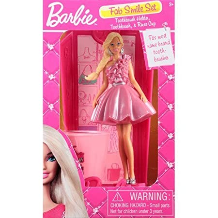 Barbie Fabulous Smile Set, 3 Pc with Toothbrush Holder, Toothbrush, and Rinse Cup by MZB Accessories TOY (English Manual)