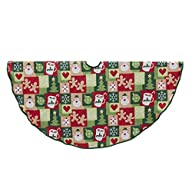 Kurt S Adler Kurt Adler Patchwork Design Christmas Tree Skirt, Green
