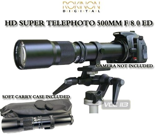Bower T-Mount 500Mm F/8.0 Preset Telephoto Lens, Requires T-Mount.