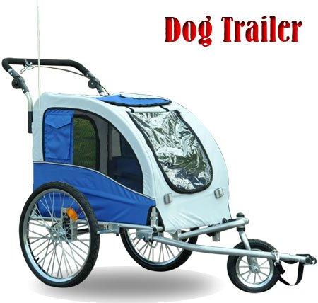 Aosom 2 in 1 Double PET TRAILER Bike Trailer/Stroller - Blue