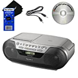 Sony CD CD-R/RW digital Radio AM/FM tuner Cassette Recorder Portable Boombox with Mega Bass, Synchronized CD/Cassette Dubbing, Shuffle, Repeat, 20 Track RMS Programming, 30 Preset Radio Stations, LCD Display, Stereo Mini Jack & Headphone Jack. Includes Auxiliary Cable f/ iPod, iPhone, & MP3 Players, Xtech CD Lens Cleaner & HeroFiber® Ultra Gentle Cleaning Cloth